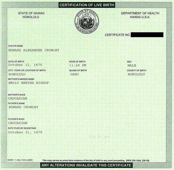 Birth Certificate Aleister Crowley 2012