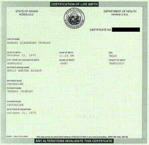 Aleister Crowley born in Hawaii?