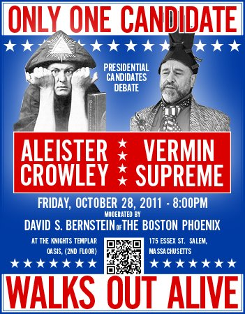 Aleister Crowley vs. Vermin Supreme Debate graphic from the Boston Phoenix