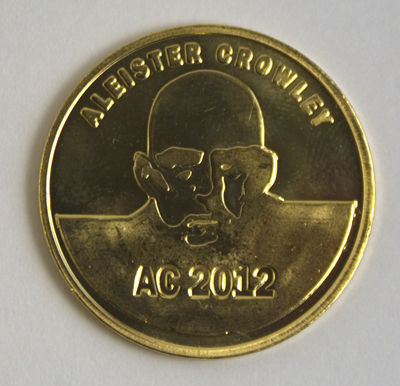 Aleister Crowley 2012 yellow brass coin