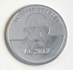Aleister Crowley 2012 nickel plated brass coin