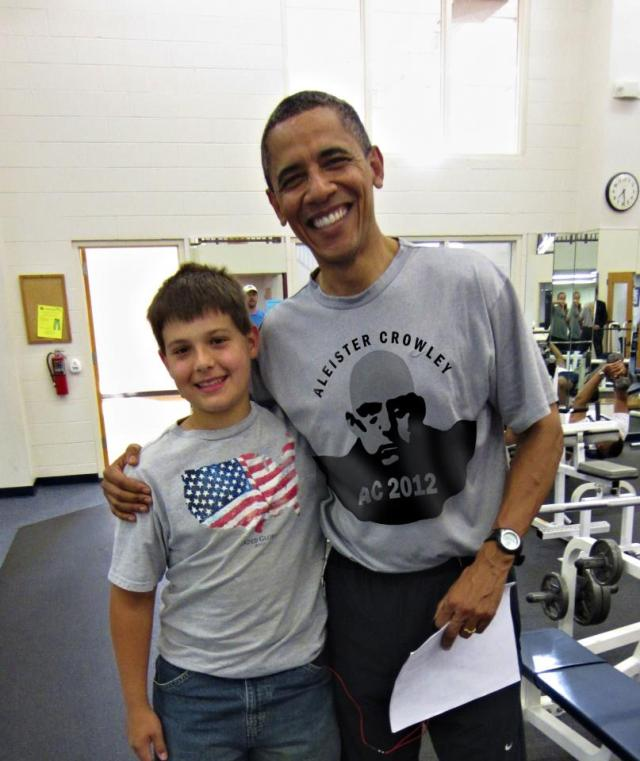 Barack Obama wearing Aleister Crowley 2012 t-shirt
